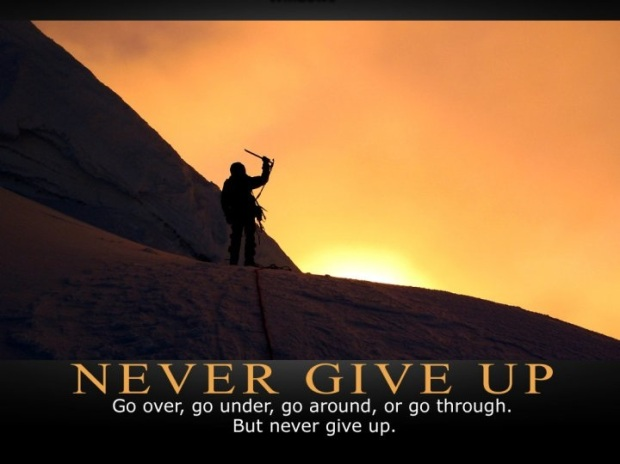 never give up with quote